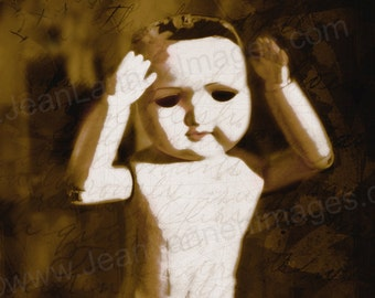 Creepy DOLL Art - creepy Cute Old Vintage Dark Gothic French Doll photographic print Sepia Textured Words Letters Message by Jean Lannen