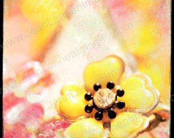 Eye Candy - Flower Jewels 7x7 Fine Art Print, Vintage Style, Retro Necklace, Spring Pink Coral Pastels, Polaroid Style -by Jean Lannen