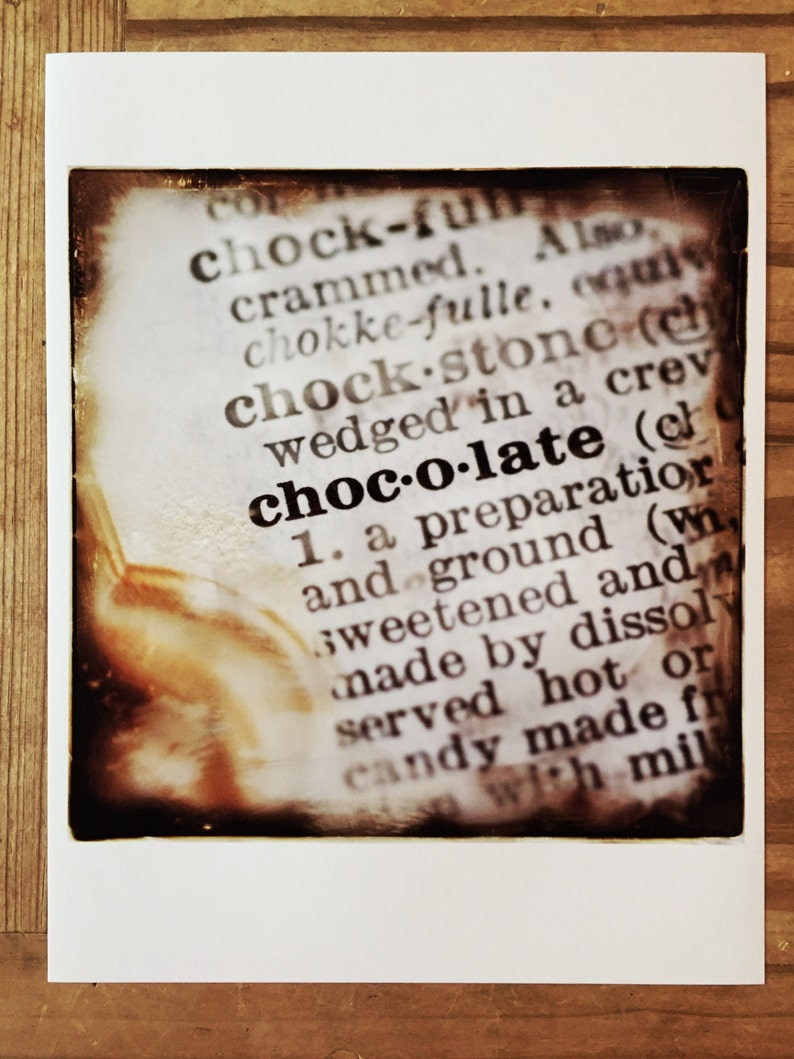 8x8 Photographic Print  of the word Chocolate Definition from image 0