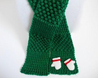 Kid's Knit Scarf with Mitten Appliqué