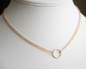 Simply Chic Necklace with Gold Filled Circle and Gold Filled Chain