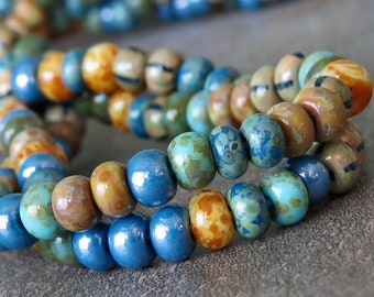NEW Andromeda Czech Glass Striped Picasso Seed Bead 5/0 Mix: 10 Inch Strand 5/0 Blue Picasso Mix