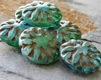 Emerald Blue Opal Picasso Dahlia Czech Glass 14mm Flower Beads : 6 pc Blue Green Dahlia Flower