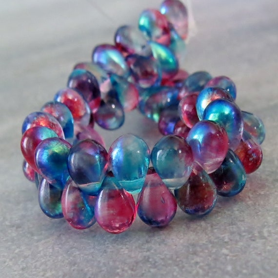 Rainbow Picasso Czech Glass Teardrop Beads 4x6mm 50 beads