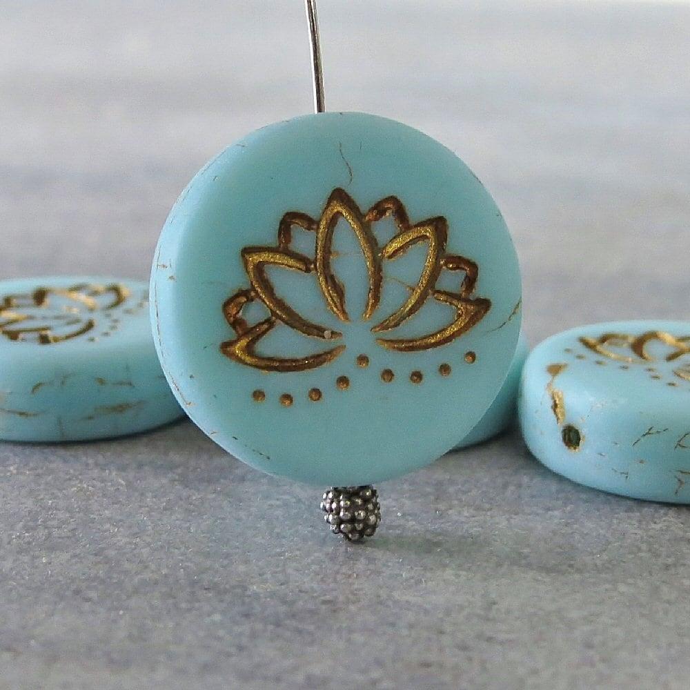 New Light Blue Turquoise Lotus Flower 18mm Gold Czech Glass Etsy