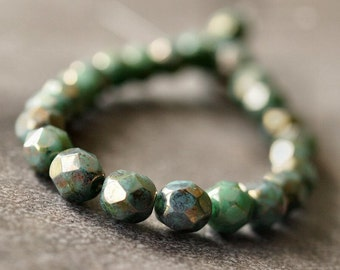 Turquoise Bronze Picasso Czech Glass Bead 6mm Faceted Round - 25 pc