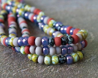 NEW Aged Moira Striped Picasso Czech Glass 10/0 Seed Bead Mix : 2 x 20 inch Strand