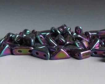 Sale 25% Off Purple Iris Tango 6mm Two Hole Czech Glass Bead : 5 grams Tango Purple