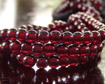 Garnet Czech Glass 4mm Round Druk Bead : 100 pc