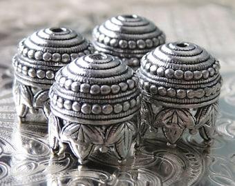 Maharaja Antique Pewter 10mm Bead Cap : 4 pc Tassel Beadcap