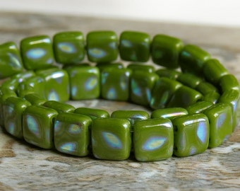 Olive Peacock CzechMates Czech Glass Bead 6mm Two Hole Tile : 25 pc Olive Tile