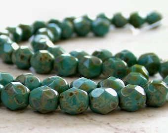 Turquoise Picasso Czech Glass Bead 6mm Faceted Round : 25 pc 6mm Turquoise Round