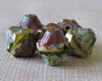Olive Cream Picasso Bicone Czech Glass 11x10mm Baroque Bicone : 6 pc Green Cream Carved Bicone Czech Bead