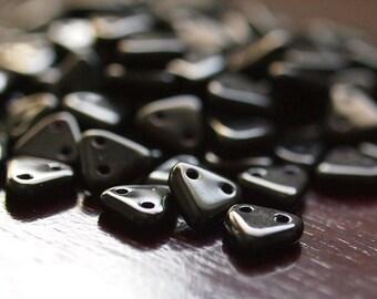 Sale 25% Off Jet Black Czechmates Triangle 2 Hole Czech Glass 6mm Bead : 50 Beads