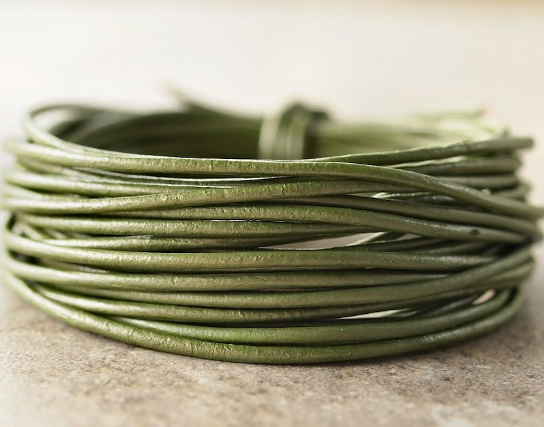 1.5mm Round Leather Cord Metallic Juniper 15 Feet Genuine Leather Cord Green
