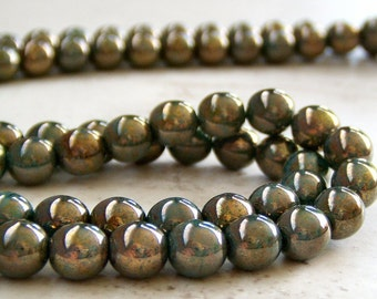 Green Turquoise Bronze Picasso 6mm Czech Glass Bead Round Druk : 50 pc 6mm Turquoise Round