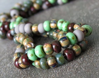 NEW 8/0 Aged Gemini Picasso Czech Glass Seed Bead Mix : 20 inch Strand Size 8 Aged Striped Seed Bead Mix