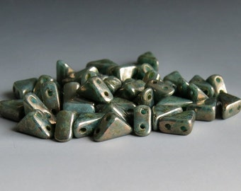 Sale 25% Off Turquoise Bronze Tango 6mm Two Hole Czech Glass Bead : 5 grams Tango Turquoise