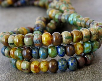 6/0 Czech Glass Seed Bead Caribbean Blue Aged Striped Picasso Seed Bead Mix : 10 inch Strand 6/0 Seed Bead Mix