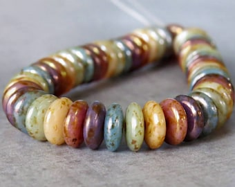 6mm Rainbow Picasso Mix Czech  Glass Bead Rondelle Spacer :  50 pc Mix Rondelle Disc Beads