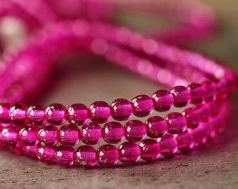 Pink Magenta 4mm Czech Glass Round Druk Bead : 50 pc Strand