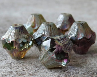 Bicone Amethyst Sapphire Jonquil Picasso Czech Glass 11x10mm Baroque Bicone : 6 pc Tri Color Carved Bicone Czech Bead