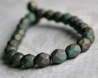 Turquoise Copper Picasso Czech Glass Bead 6mm Faceted Round : 25 pc Full Strand Turquoise Beads