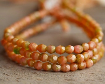 Czech Glass Bead Pink Coral and Olivine 4mm Faceted Round : 50 pc