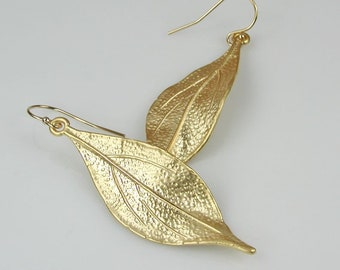 Gold Long Twisted Leaf Earrings