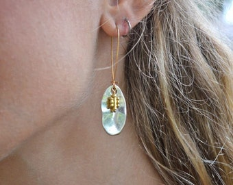 Silver and Gold Dangle Earrings - Mixed Metals