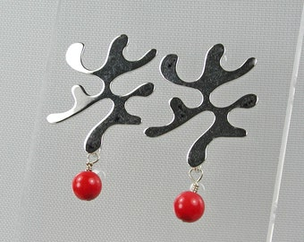 Silver Squiggle Post Earrings with Red Coral Charms