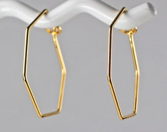 Gold Hexagon Small Hoop Earrings