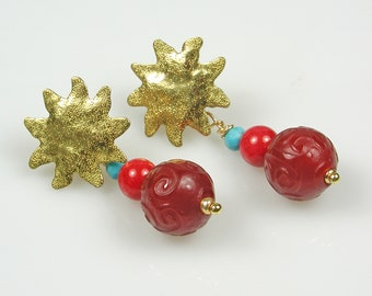 Sunny Day Stud Earrings with multi-color dangles: Jade, Coral and Turquoise