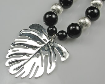 Silver Tropical Monstera Leaf Pendant Black Onyx and Silver Necklace