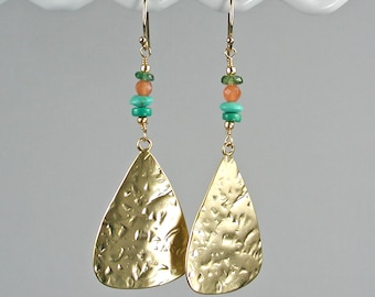 Hammered Gold Triangle Dangle Earrings with Kingman Turquoise, Orange Carnelian and Green Vessonite
