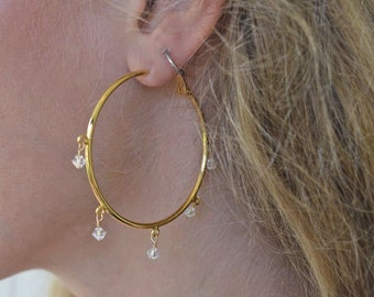 Big Gold and Swarovski Crystal Hoop Earrings Sparkly Crystal Charms