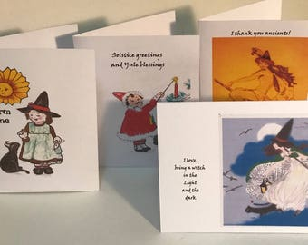 Wicca, Witches greeting cards set