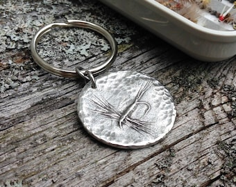 Pewter Dry Fly Key Chain, Fly Fishing Gifts