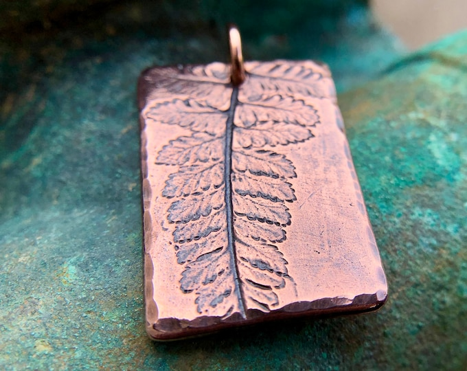 Copper Fern Imprint Pendant, Botanical Focal Pendant