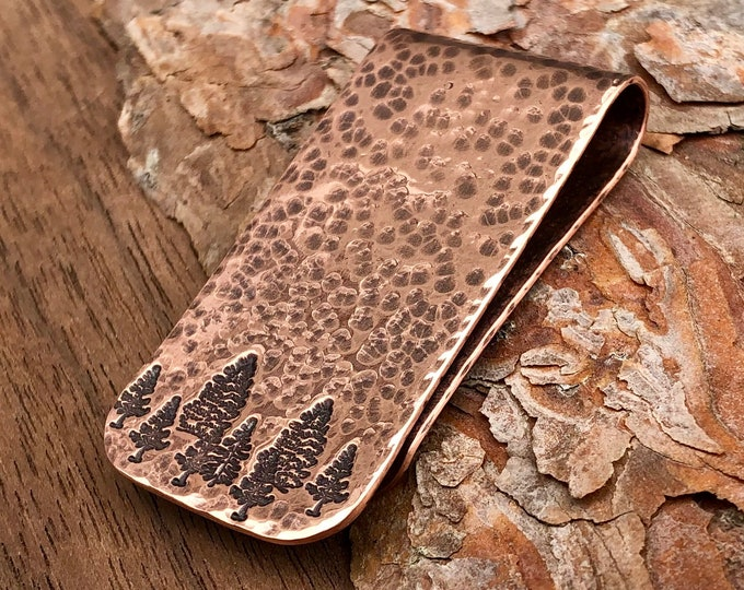 Forest Copper Money Clip, Hand Hammered with Hand Stamped Pine Trees