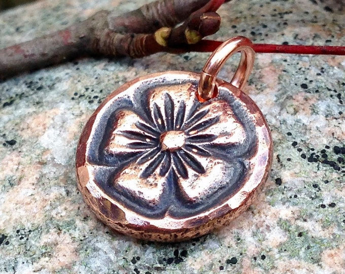 Copper Flower Pendant, Rustic Flower Charm