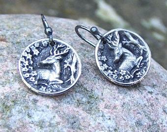 Tiny Deer Earrings, Oxidized Sterling Silver Ear Wires