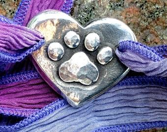 Paw Print on My Heart Silk Ribbon Wrap Bracelet, Boho Jewelry, Blue, Purple, Green