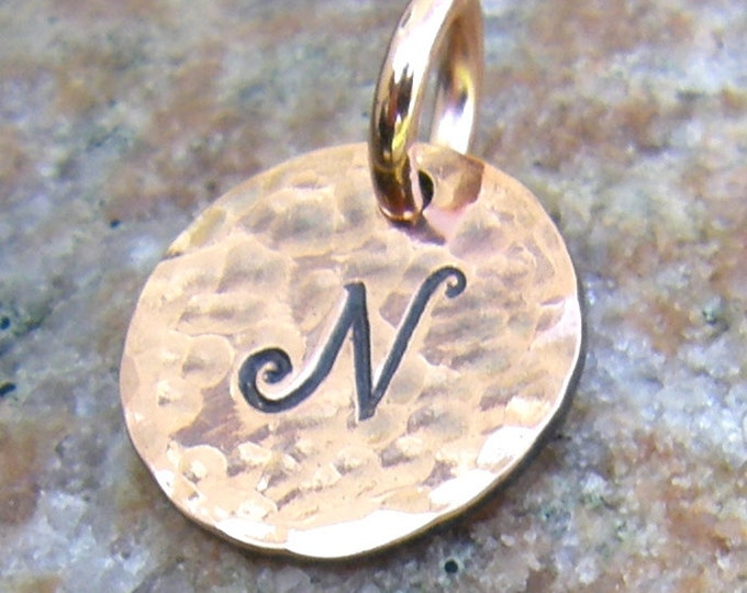 Personalized Copper Tag Charms, 1/2 inch, Hand Stamped Letter, Custom Initial