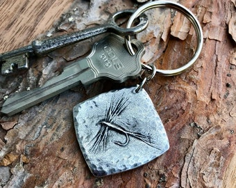 Dry Fly Key Chain, Fly Fishing Gifts, Hand Cast Pewter