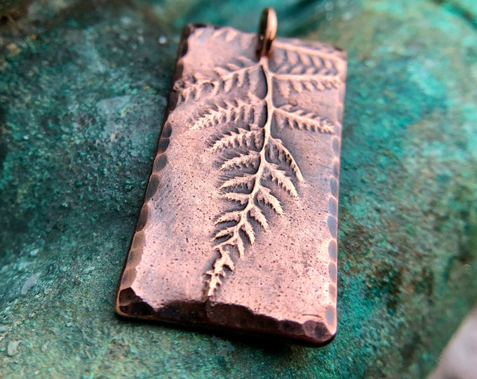 Copper Fern Pendant, Plant Jewelry