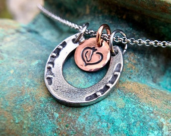 Pewter Horse Shoe Necklace, Hand Stamped Copper Horse Head Heart or Running Horse, Stainless Steel Rolo Adjustable Chain, 18 inch, 20 inch