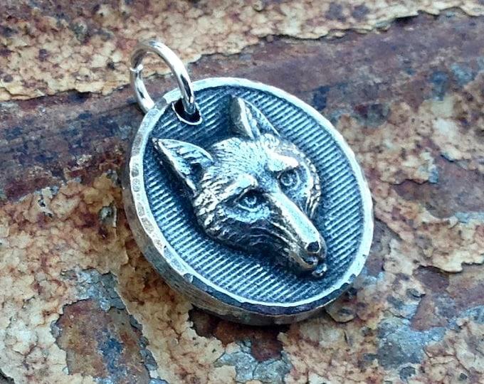 Fox Pendant, Fox Charm, Handcast Pewter