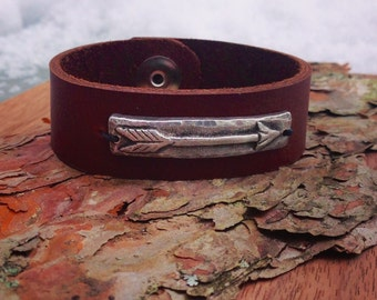 Arrow and Leather Cuff Bracelet, Inner Warrior Cuff, Leather and Pewter
