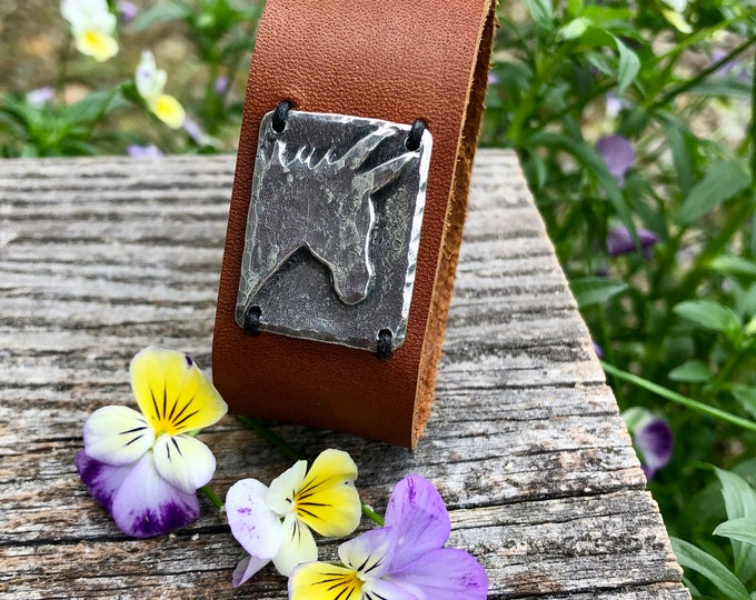 Donkey Cuff Bracelet, Chocolate Brown Leather with Snap Closure